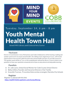 YOUTH MENTAL HEALTH TOWN HALL IS NEXT TUESDAY