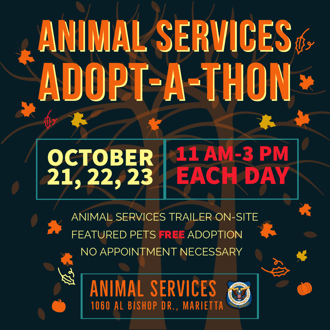 Cobb County Animal Services will host an Adopt-a-thon.